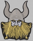Viking head helmet embroidered big patch v1
