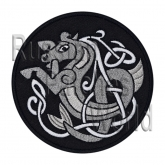 Sea horse celtic ornament embroidered patch #8