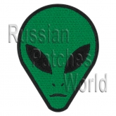 Alien head UFO embroidery patch