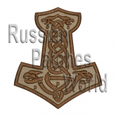 Mjolnir Thor's hammer embroidered patch beige v.1