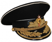 Soviet Military Navy Admiral General Parade Uniform Visor Hat Black Replica