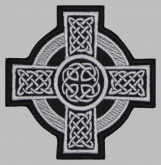 Celtic ornament cross machine embroidered patch #2