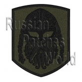 Viking head helmet ornament embroidered patch khaki v1