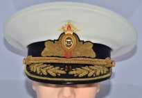 Russian Military Navy Admiral Parade Uniform Visor Hat White