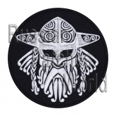 Viking helmet with horns patch black round