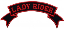 Lady Rider motorcycle back jacket embroidery red strip patch