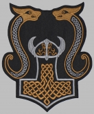 Mjolnir Thor's hammer jacket embroidered big patch #6