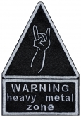WARNING heavy metal zone sign embroidery patch v2