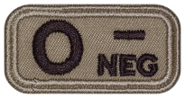 Blood Type Patch O (I) Rh- neg embroidered velcro patch #2