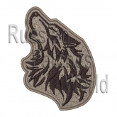 Howling Wolf head airsoft embroidered patch desert