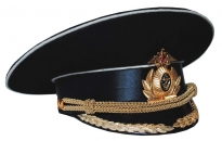 Russian Military Navy Officer Parade Uniform Visor Hat Black