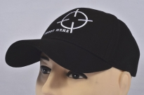 Shoot Here Cap Black Embroidered