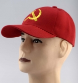 USSR symbol sickle and hammer embroidered red cap