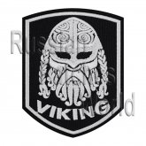 Viking head helmet ornament embroidered patch v1