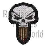 Skull with ammunition embroidery patch