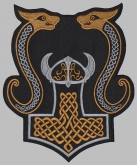 Mjolnir Thor's hammer jacket embroidered big Celtic  patch #11
