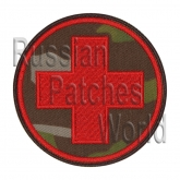 Red cross medic embroidered camo patch
