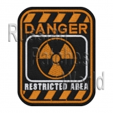 Danger restricted area sign embroidered patch