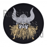 Viking helmet with horns patch black round v.3