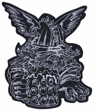 Viking norse beer helmet wings embroidery patch #1