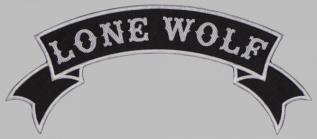 Lone Wolf motorcycle back jacket embroidery white strip patch #1
