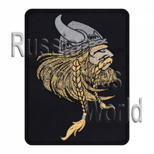 Viking helmet with horns patch black v.2