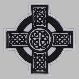 Celtic ornament cross machine embroidered patch #3