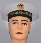 Soviet Navy Sailor Visorless Hat with Bands White Pacific Ocean