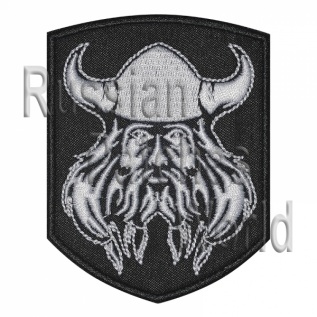 Viking helmet with horns embroidered patch