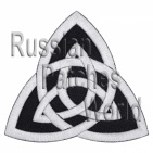 Celtic knot ornament embroidered patch black 2