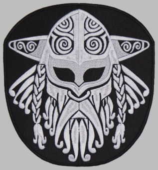 Viking helmet ornament embroidered patch v1