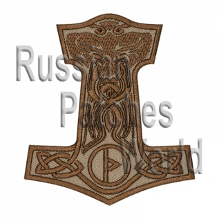 Mjolnir Thor's hammer embroidered patch beige v.2