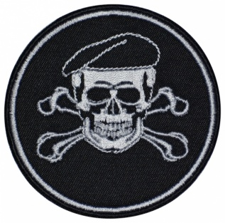 Skull in a beret military game airsoft patch small