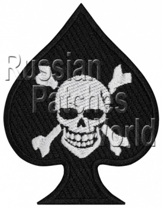 Ace of Spades scull card embroidery patch