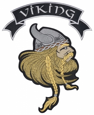 Viking strip head warrior embroidered big patch