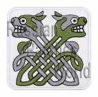 Celtic knot ornament machine embroidered patch white v11