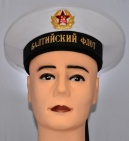 Soviet Navy Sailor Visorless Hat with Bands White Baltic Fleet