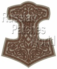 Mjolnir Thor's hammer embroidered patch beige 8