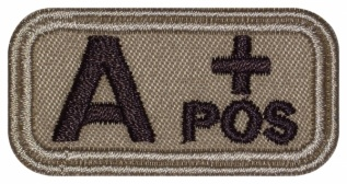 Blood Type Patch A (II) Rh+ pos embroidered velcro patch #2