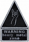 WARNING heavy metal zone sign embroidery patch #2