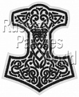 Mjolnir Thor's hammer embroidered patch white 8