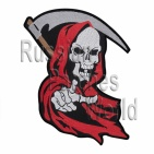 Grim reaper death skull embroidered patch v1