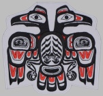 Haida ethnic ornament bird embroidered patch #1
