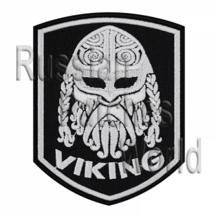 Viking head helmet ornament embroidered patch black v1
