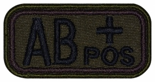 Blood Type Patch AB (IV) Rh+ pos embroidered velcro patch #1