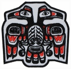 Haida ethnic ornament bird embroidered patch #2