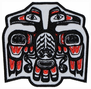 Haida ornament bird Ethnic machine embroidered patch #2