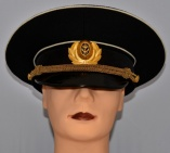 Russian Military Navy Uniform Visor Hat Black warrant officer