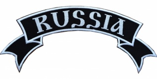 RUSSIA motorcycle back jacket white embroidered patch engl v.2
