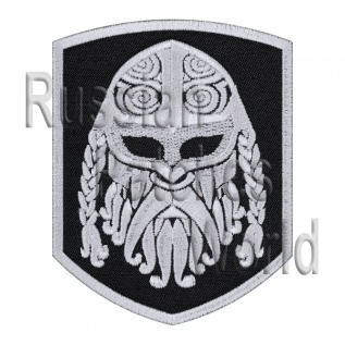 Viking head warrior ornament embroidered patch